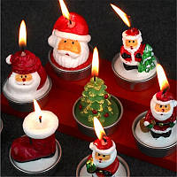 Рождество 2017 3шт Свеча Санта-Клаус Снеговик Сосновые орехи Свеча Стороны Подарки Украшение Свечи Лампа