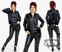 Кожаная женская куртка-бомбер на молнии батал