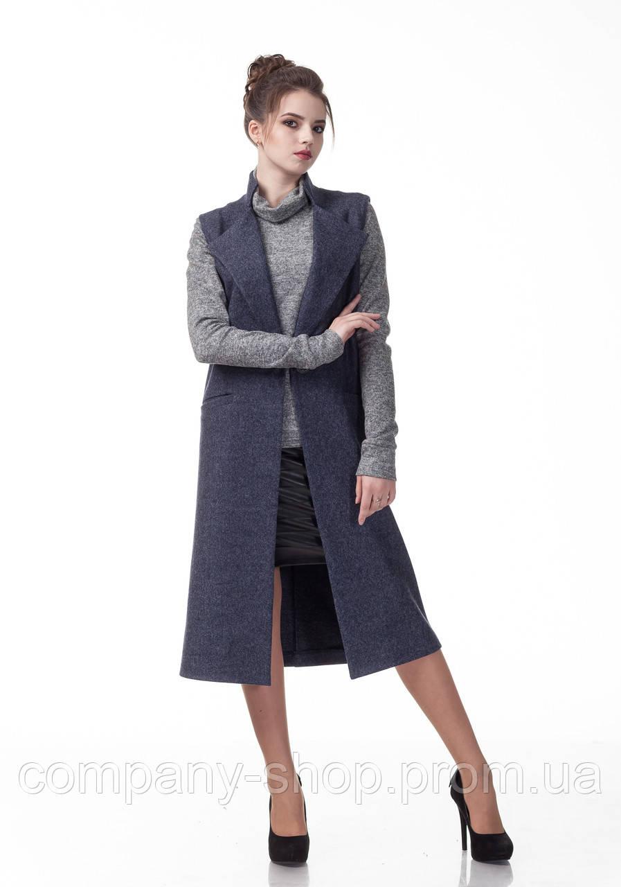 Женский кашемировый жилет пиджак. Модель Ж008_джинс.