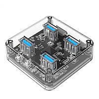 ORICO MH4U 4 порта USB3.0 Прозрачный рабочий стол HUB для таблиц ПК с U-образным диском iphone7 Samsung S8