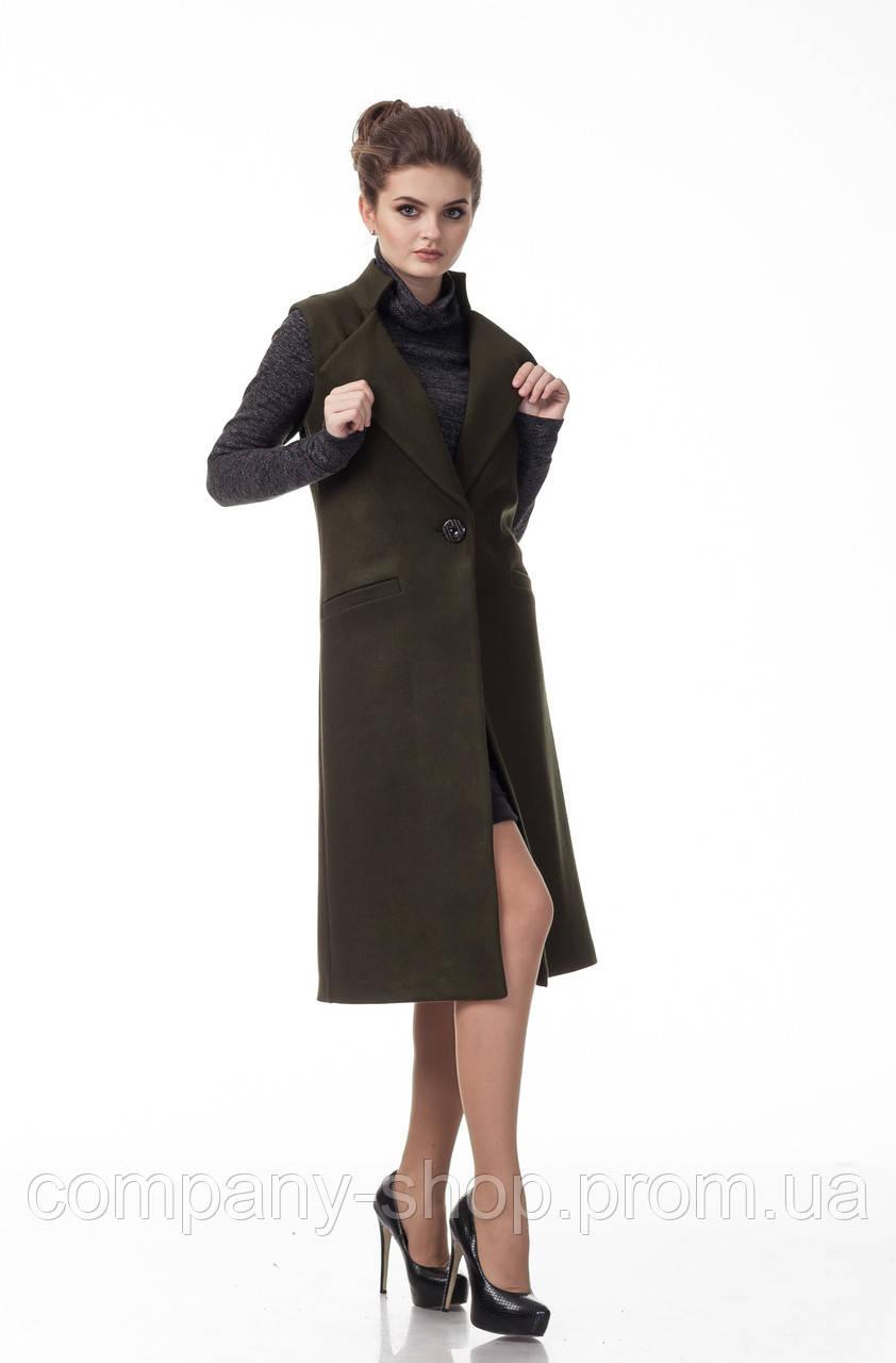 Женский кашемировый жилет пиджак. Модель Ж008_оливка.