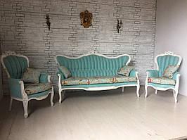 Комплект мягкой мебели в стиле барокко диван и два кресла