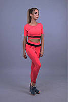 Розовый костюм для фитнеса   Спортивные лосины с топом для тренировок