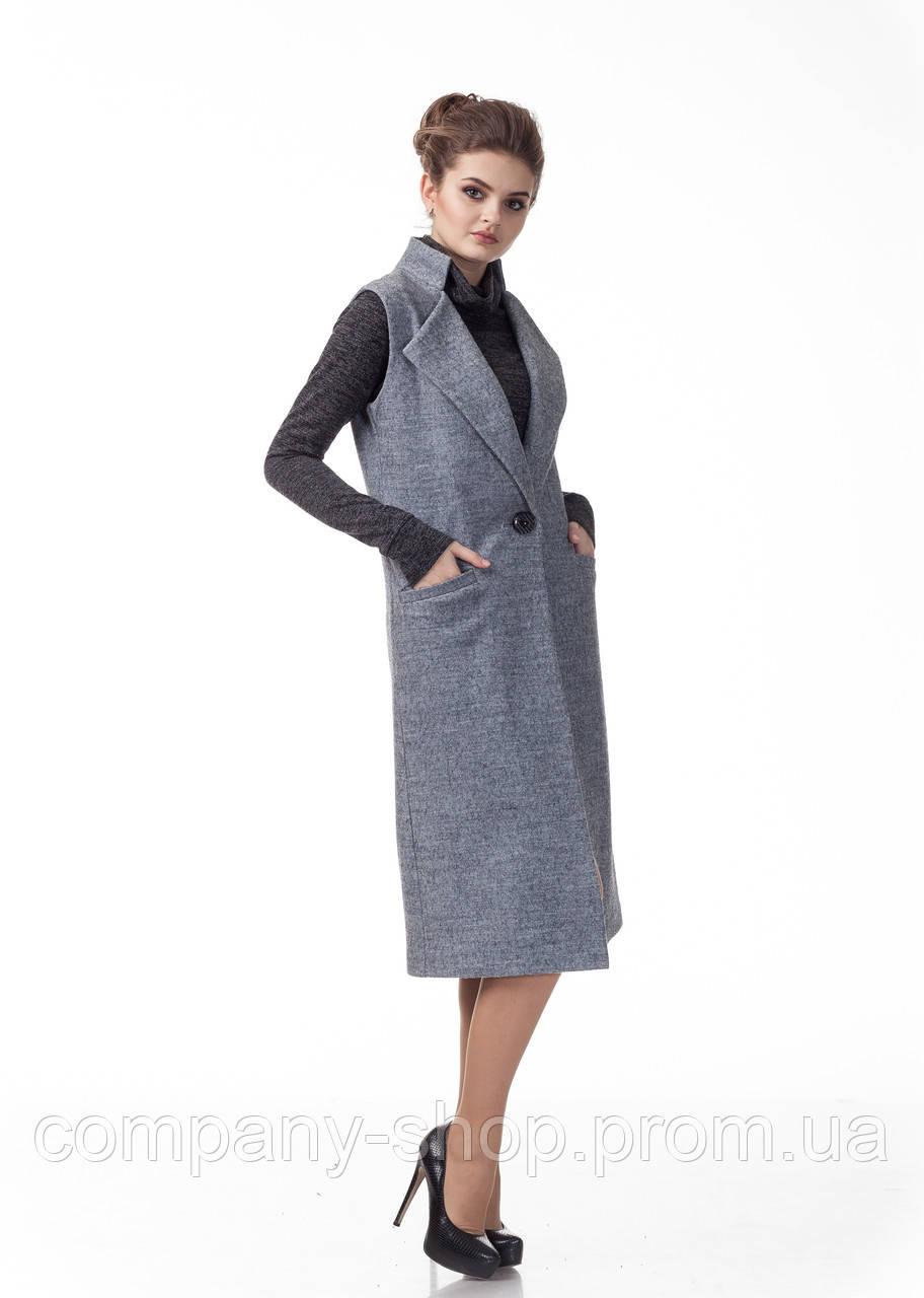 Женский кашемировый жилет пиджак. Модель Ж008_серый меланж.