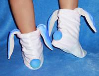 Тапочки Зайчики с голубыми ушками Белые, фото 1