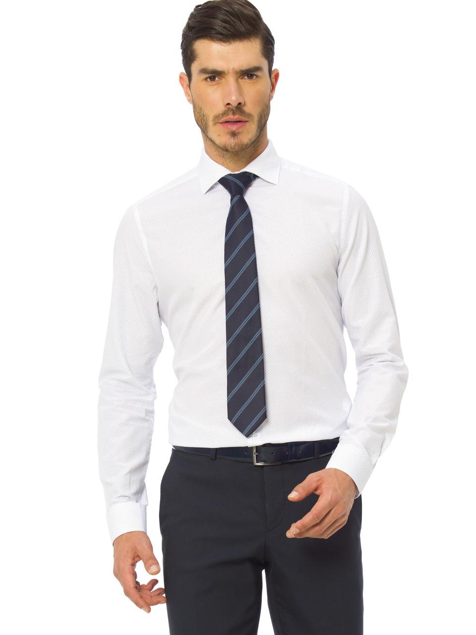 Белая мужская рубашка LC Waikiki/ЛС Вайкики в синюю точечку М