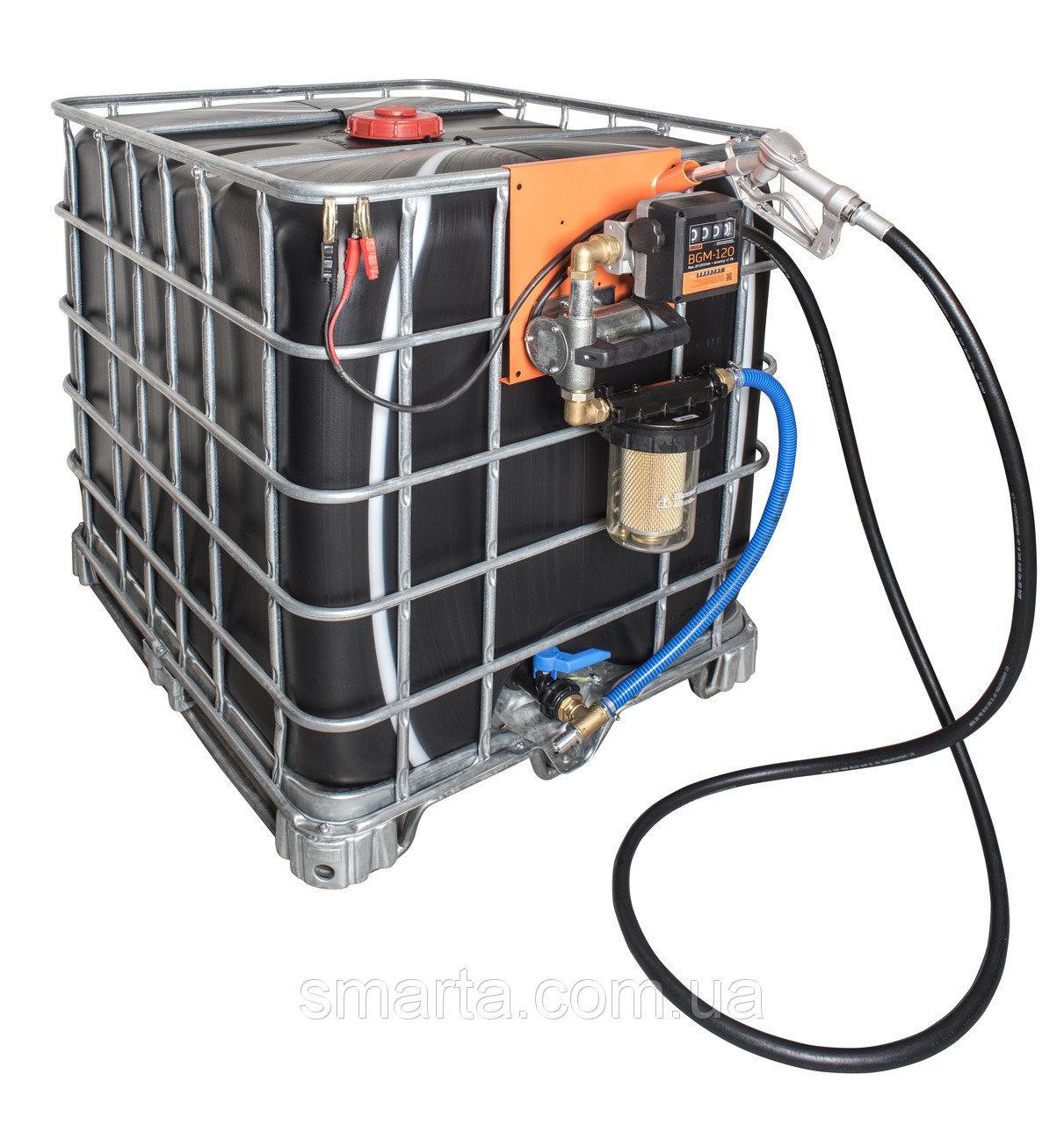 Мобільний паливний заправний модуль для ДТ на базі єврокуба, 1000 литров, 12 вольт