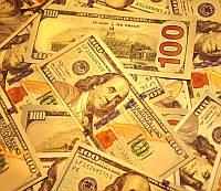 """Денежная пластина пластик """"100 Долларов"""" золотой цвет"""
