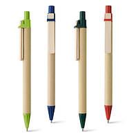Авторучка - био под логотип, деревянный клип, наконечник и кнопка цветные Hiidea 91292