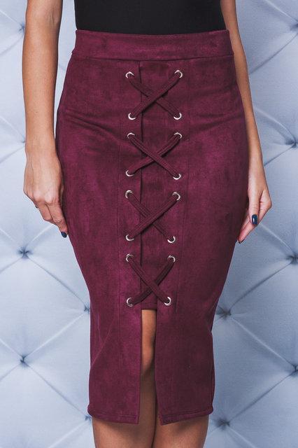 Замшевая юбка карандаш бордо