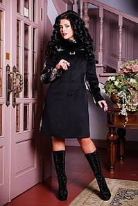 Женское зимнее пальто двухцветное с мехом песца