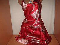 Пеньюар  женский красный в цветах, р.L, XL  и XXL