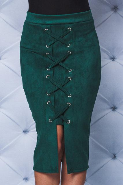 Замшевая юбка карандаш  зеленая