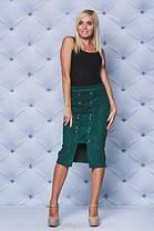 Замшевая юбка карандаш  зеленая, фото 3