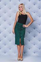 Замшевая юбка карандаш  зеленая, фото 2