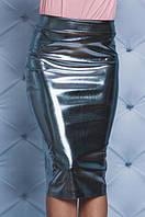 Стильная юбка из эко-кожи серебро
