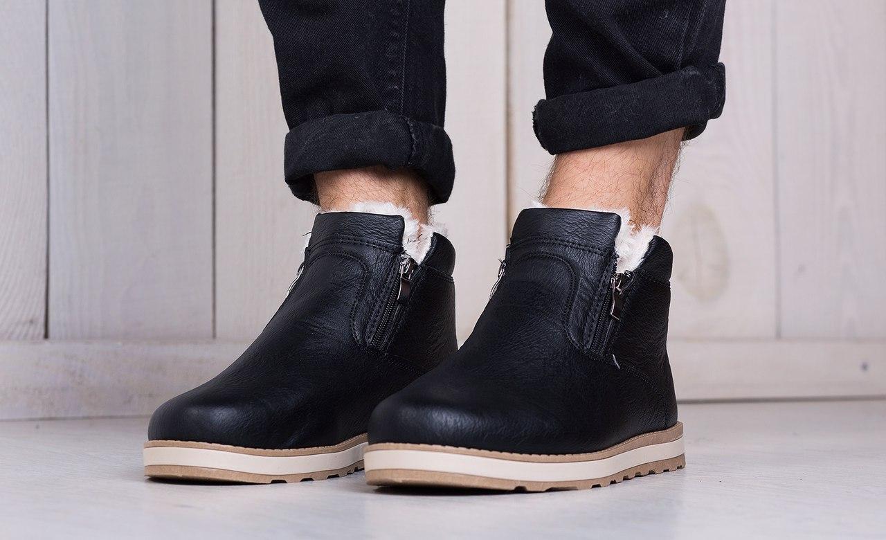 Ботинки мужские кожаные на меху (черные),