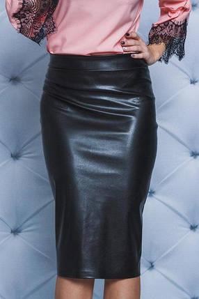 Стильная юбка из эко-кожи  черная, фото 2