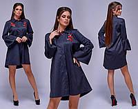 Платье-рубашка в мелкую клетку