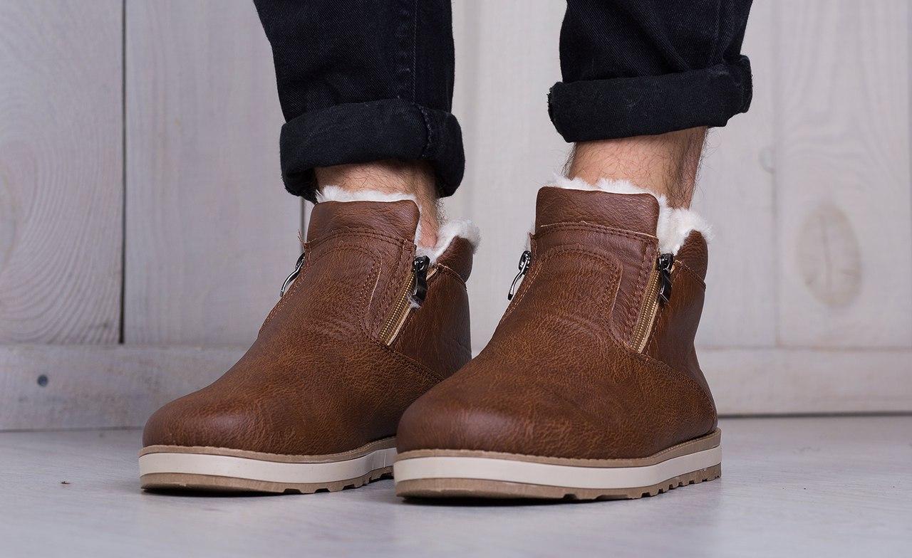 Ботинки мужские кожаные на меху (коричневые)
