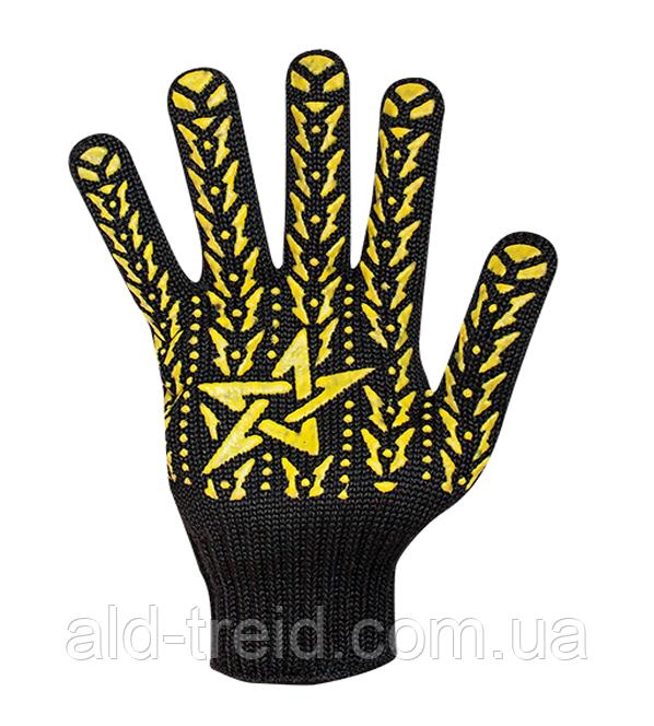 Перчатки трикотажные черные ПВХ