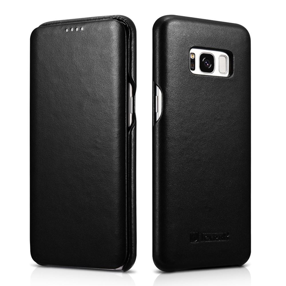 Чехол книжка для Samsung Galaxy S8 Plus G955 боковой из натуральной кожи, ICARER Luxury Series, черный