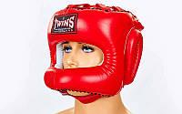 Шлем боксерский с бампером кожаный TWINS HGL-9-RD-L