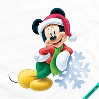 Термопринт на челочно-носочные изделия Микки со снежинкой [7 размеров в ассортименте]