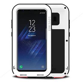 Чехол накладка для Samsung Galaxy S8 Plus G955 металлический с защитным стеклом, LOVE MEI, белый
