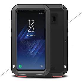 Чохол накладка для Samsung Galaxy S8 Plus G955 металевий з захисним склом, LOVE MEI, чорний