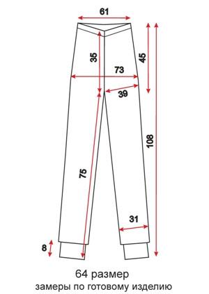 Женские спортивные брюки на манжетах - 64 размер - чертеж
