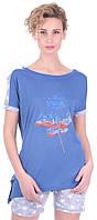 Практичный комплект женский Miss First Usa светло-синий (футболка+шорты)