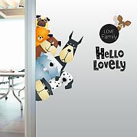 Мультфильм стены наклейки Симпатичные животные Про - зеленый диван гостиной Размещенный Детская комната Вставить