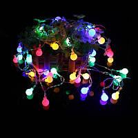 Гирлянда Светодиодная Нить с шариками  на батарейках, 20 LED, цвет - разноцветный, 2 м