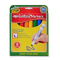 Кольорові фломастери малюкам, змиваються, з округлим стрижнем, 8 кольорів, Crayola