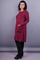 Альбина. Платье для женщин супер сайз. Бордо., фото 1