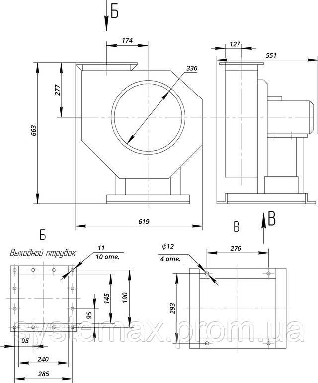 Габариты и присоединительные размеры (вентилятор радиальный пылевой ВРП №4)