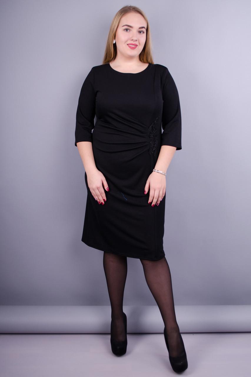 Тейлор. Красивое женское платье супер батал. Черный.