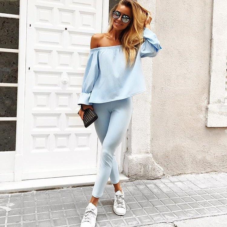 5f08f71a72cc Модный женский костюм голубого цвета - Интернет-магазин одежды и обуви от  производителя