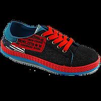 52e8dae4 Чёрные низкие кеды с голубой вставкой вставкой и красной подошвой 36-41