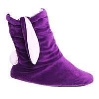 Тапочки Зайчики фиолетовые с белыми ушами