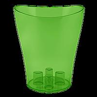 Вазон для орхидей Ника Ø 160мм*190мм, 2,0л, зелено-прозрачный PS Алеана 1/10