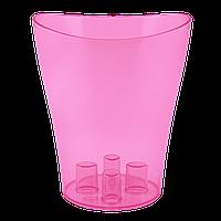 Вазон для орхидей Ника Ø 160мм*190мм, 2,0л, малиново-прозрачный PS Алеана 1/10