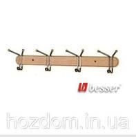 Вешалка для полотенец, деревянная планка на 4