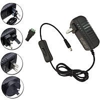 AC85-265V к DC12V 2A 24W адаптер питания с переключателем для LED Strip Light