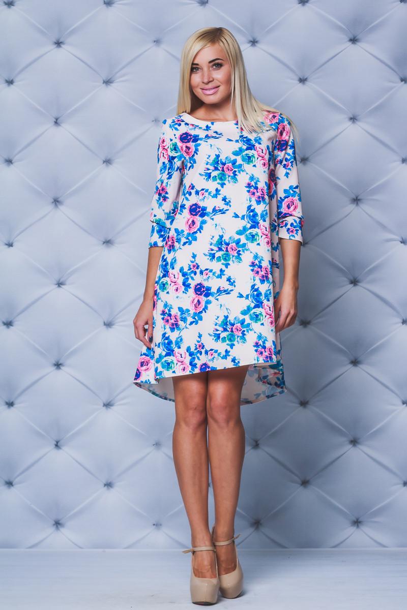 Платье свободное принт бежевые цветы