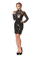 Женское платье из дайвинга № 1033 (черный-золото)