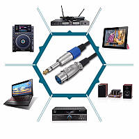 3Pin XLR Женский разъем до 1/4 дюймов 6.35 мм Мужской разъем Stereo Микрофон Адаптерный кабель