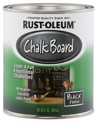 Грифельная краска Rust Oleum (Chalkboard) Черная, 0.946 л, фото 2