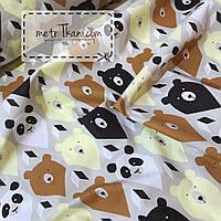 """Лоскуток. Детская ткань   """"Мишки-треугольники"""" коричневые и бежевые  45*160 см.  №842"""